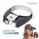 Magnifier Visor Jewelry Glasses LED Lens Light Magnifying Watches Loupe Headband