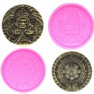 Maya Coin Silicone Mold Fondant Cake Resin Gypsum Chocolate Candle Candy Mould