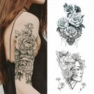 Temporary Tattoo Sticker for Women Black Roses Design Arm Body Art Fake Tattoos