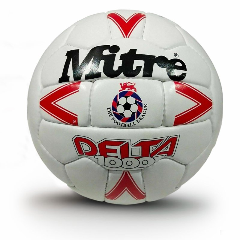 Red Mitre Delta 1000 Official Match Ball | Original Leather | OMB Soccer England