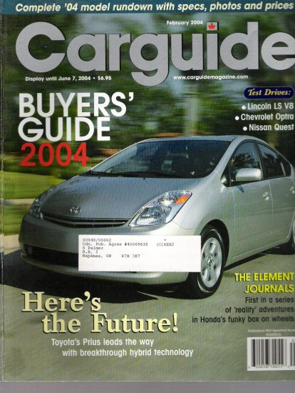 CARGUIDE...BUYERS GUIDE 2004..  CAR MAGAZINE
