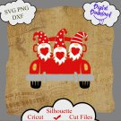 Valentine gnomes svg, gnomes with heart on old truck svg, gnomes svg, valentines day svg