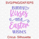 Easter Svg, Bunny Kisses And Easter Wishes Svg, Easter Shirt Svg, Girls Easter Svg, Easter Svg