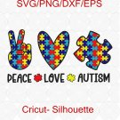 Peace Love Autism svg, Autism Mom svg, Autism Heart svg, Autism Awareness, Autism Puzzle svg