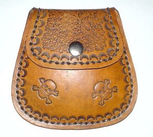 Leather Belt Pouch with Skulls