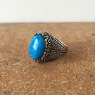 Heavy men rings , 925 Sterling silver Turquoise blue stone