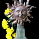 Cast Iron Look Sun Face On Pedesta