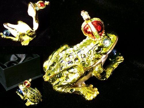 Frog W/ Crown Jeweled Trinket Box