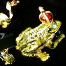 Frog W/ Crown Jeweled Trinket Box