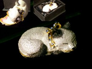 Cat Jeweled Trinket Box