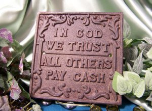 """Cast Iron """"In God We Trust"""" Plaque"""