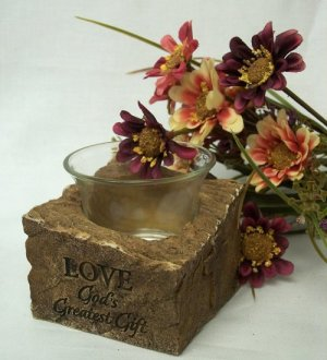 """Candle Holder """"Love - GOD's Greatest Gift"""