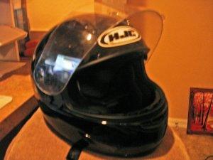 HJC SOLID BLACK MOTORCYCLE HELMET