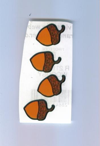 Scrapbooking Sticker - Set of Four ACORN STICKERS