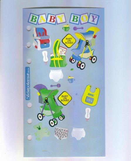 Scrapbooking Sticker - Rare STICKOPOTAMUS Baby Boy STICKERS Out Of Print