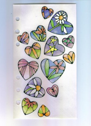 Scrapbooking Sticker - STICKOPOTAMUS Stained Glass HEARTS STICKERS Partial Sheet Out of Print