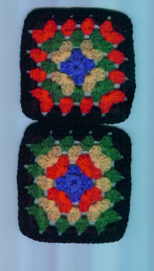 Hand Crafted Granny Squares Multi Colored Black Border Set of 2 #2