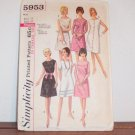 SIMPLICITY Vintage 60s A Line One Piece Dress Pattern 5953 Miss Size 14 Bust 34