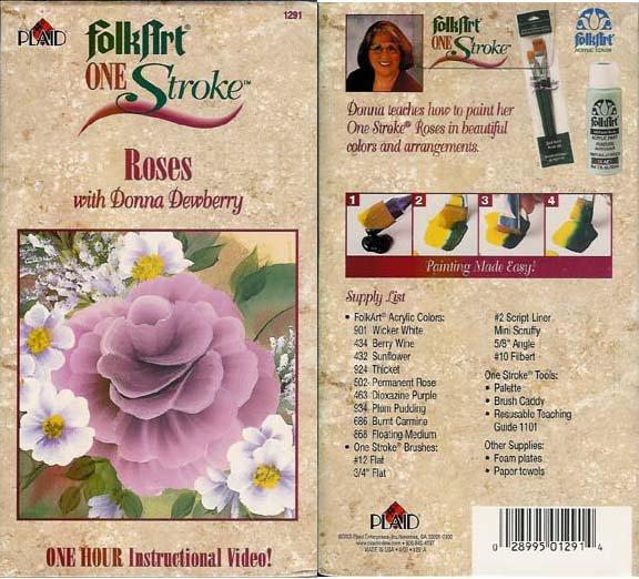 Plaid Folk Art Folkart One Stroke Roses with Donna Dewberry Video VHS location96