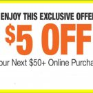Home Depot Coupon $5 OFF $50 Online Use Only