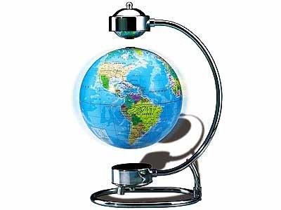 Levitating Globe With Chrome Steel Base