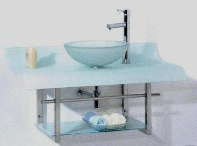 Ikasumoto Tempered Glass Chrome Vanity Unit