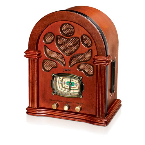 Jwin JK-222 WOOD CABINET TOMBSTONE RADIO WITH 4 BAND AM/FM/TV/WB