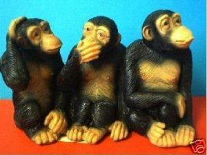 3 CUTE MONKEYS APES CHIMPS WEIRD GAG GIFT
