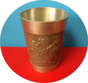 UNUSUAL PEWTER ART CUP MEDICAL,NAUTICAL, MILITARY