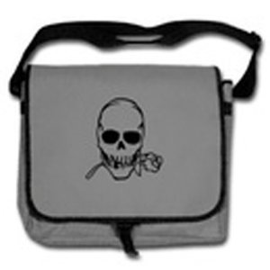 Men's black/grey skull Messenger Bag