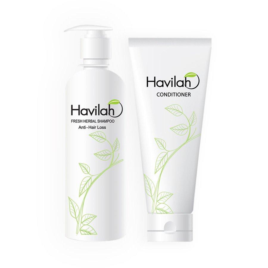Havilah Herbal Shampoo 300ml  Conditioner 200ml  Prevent Hair Loss Natural Anti Hair Fall Regrow