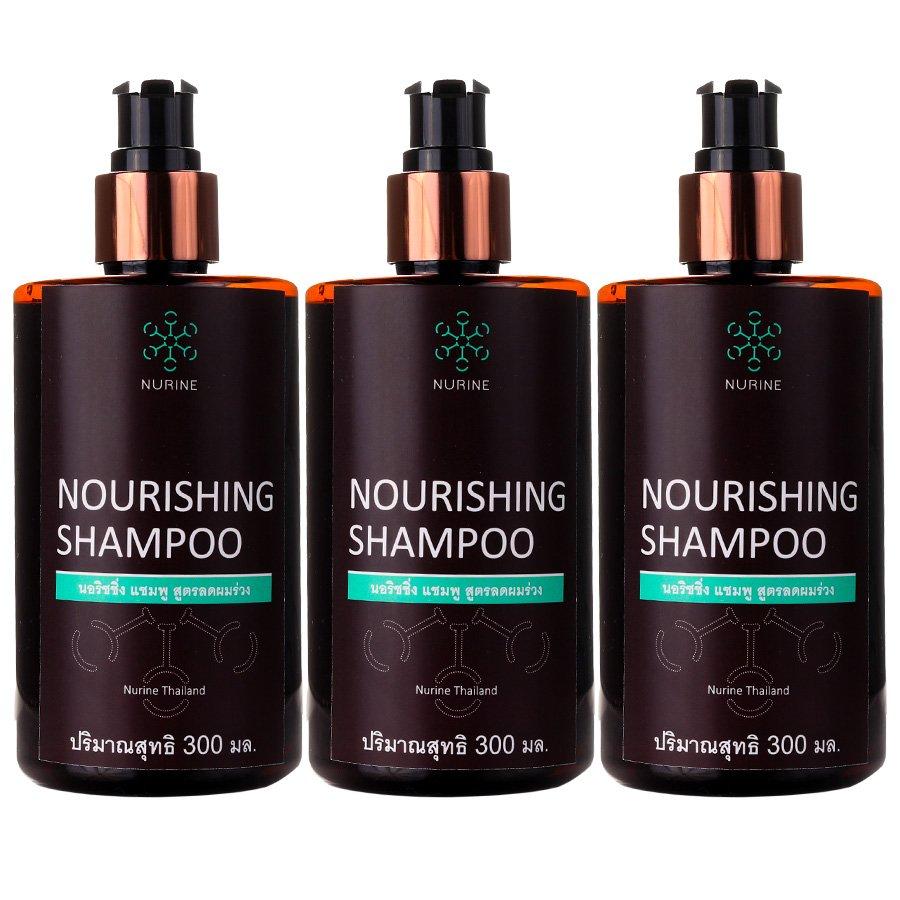 Hair Hair Loss Nourishing Eliminate 300ml. Dandruff Helps Nurine Shampoo strengthen (Pack of 3)