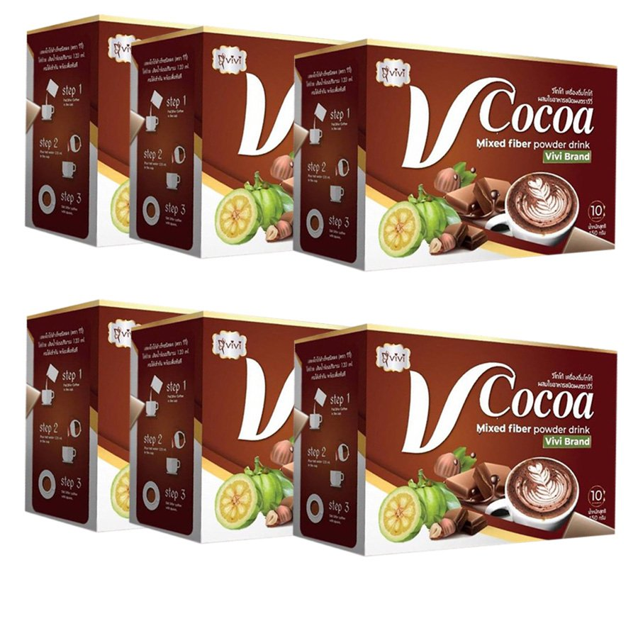 Mixed Delicious  Vivi V Cocoa Drink Digestive Firm Loss Diet Slim Weight Fiber Powder (Pack of 6)