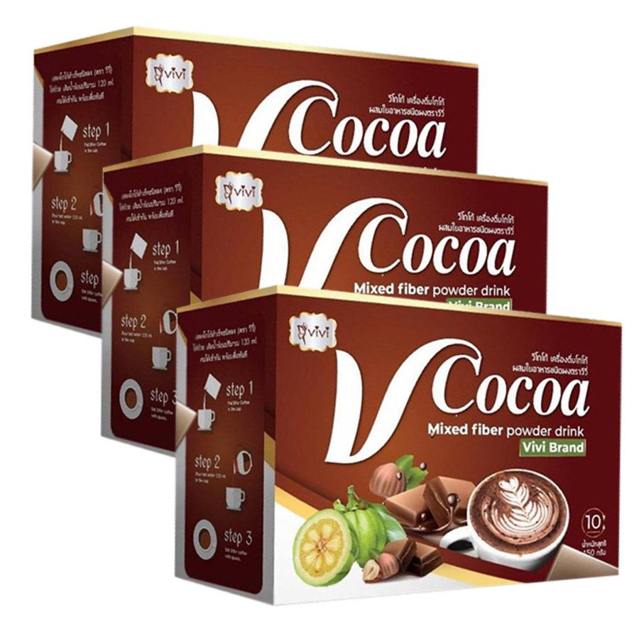 Vivi V Cocoa Drink Delicious Slim Digestive Powder Weight Diet Fiber Loss Firm Mixed (Pack of 3)
