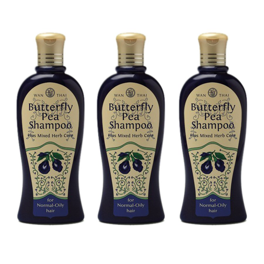Plus Mixed Core Butterfly-Pea Normal-Oily-Hair For Shampoo Herb Healthy Wanthai 300ml (Pack of 3)