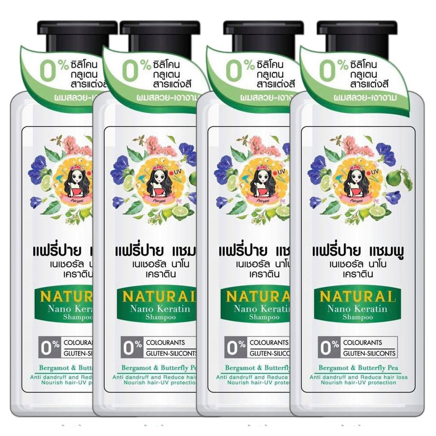 Fairy-Pai Shampoo Natural Fast Gray Loss Hair Reduces 250ml Hair Nano Long Keratin Hair (250ml x 4)