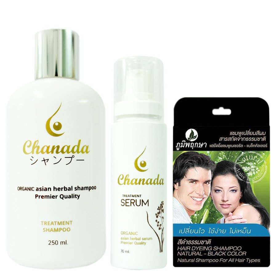 CHANADA SET ORGANIC HERBAL SHAMPOO SERUM BREAST FEEDING WOMEN REGROW SERUM HAIR LOSS REGROWTH