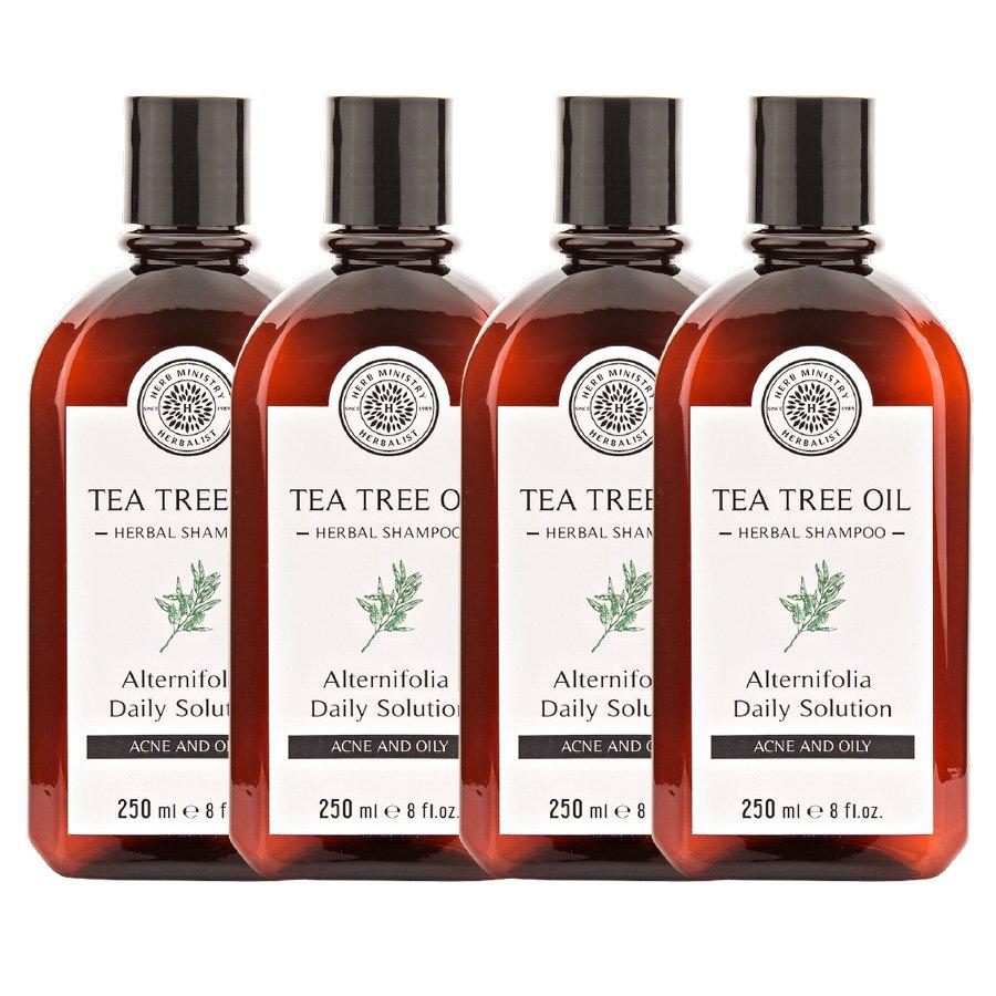 HERB MINISTRY TEA TREE OIL HERBAL SHAMPOO 250ML. NOURISH HEAD HAIR CARE OIL CONTROL (PACK OF 4)