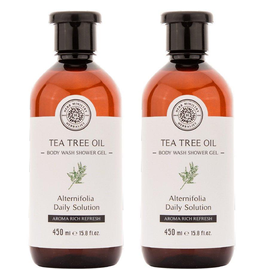 Herb Ministry Tea Tree Oil Body Wash Shower Gel 450ml. Deep Cleansing Shower Gel Natural (Pack of 2)