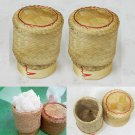 Thai Handmade Sticky Rice Serving Basket Small Size (Pack of 6)