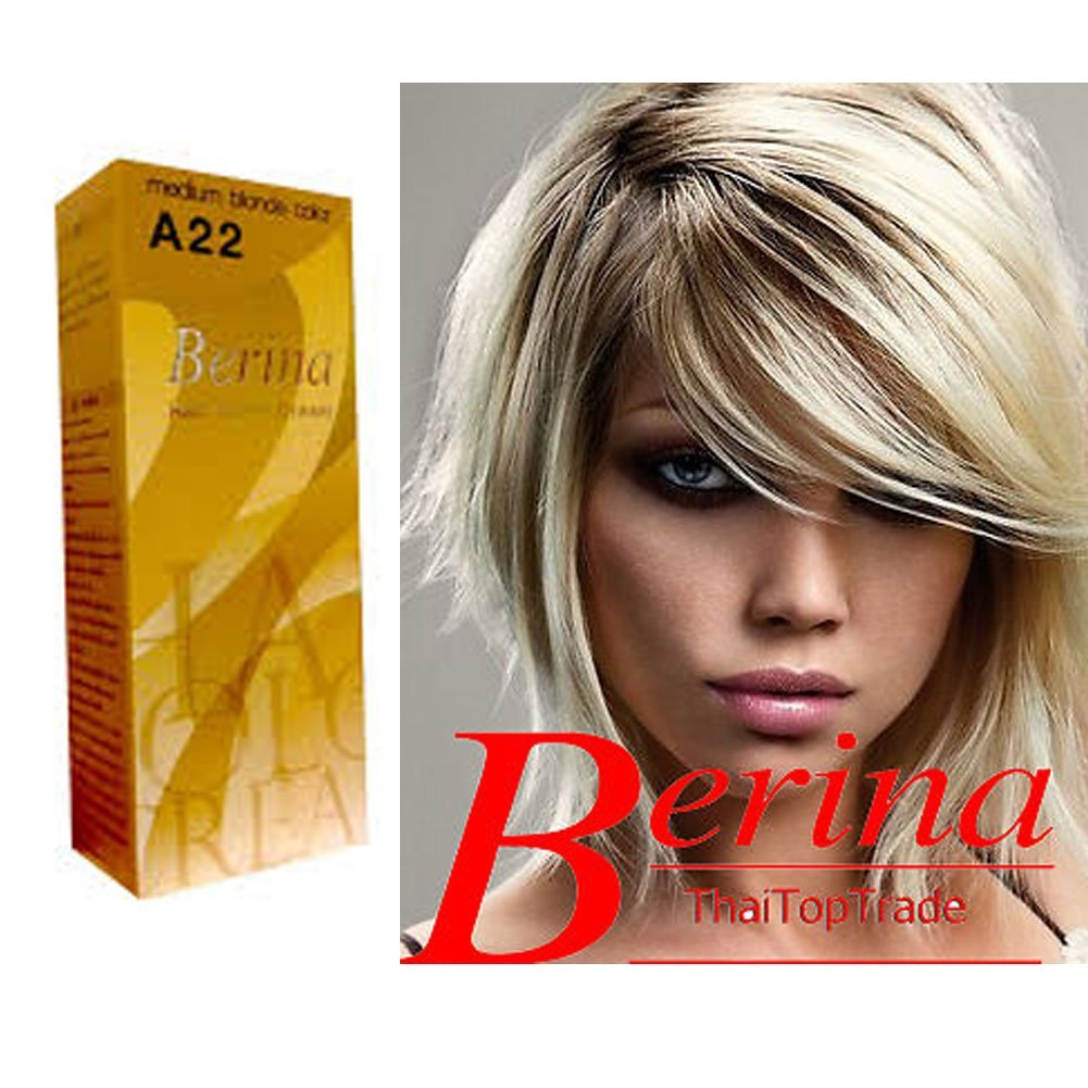 Berina Permanent Hair Dye Color Cream  A22 Medium Blonde Color Mad