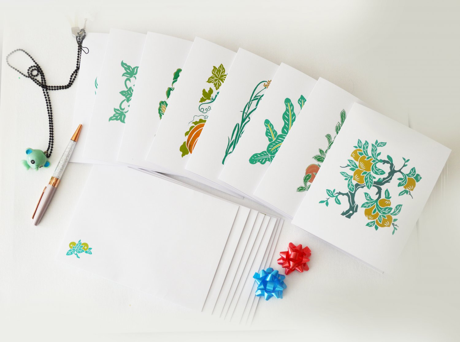 Garden plants Notecard Set of 8 - Folded Note Card