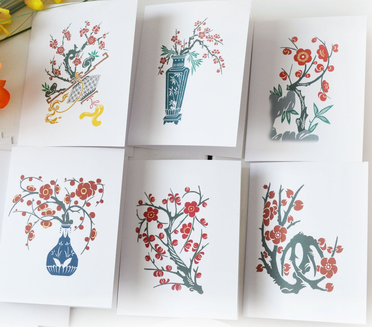 Plum Blossom Floral Notecard Set of 6 - Folded Note Card