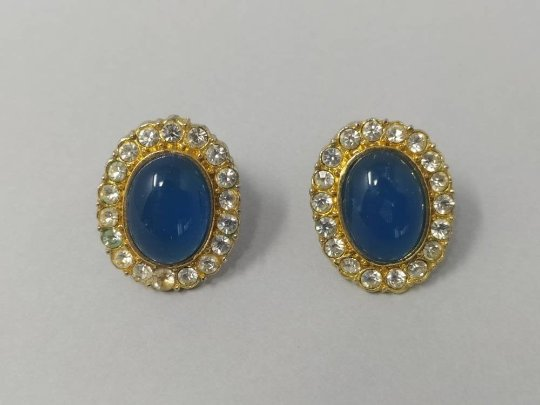 1940s Vintage Oval Blue Rhinestone and Lucite Clip On Earrings