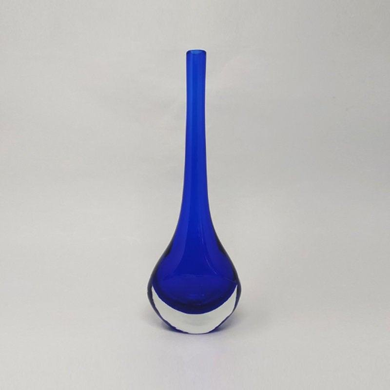 1960s Gorgeous Blue Vase By Flavio Poli for Seguso