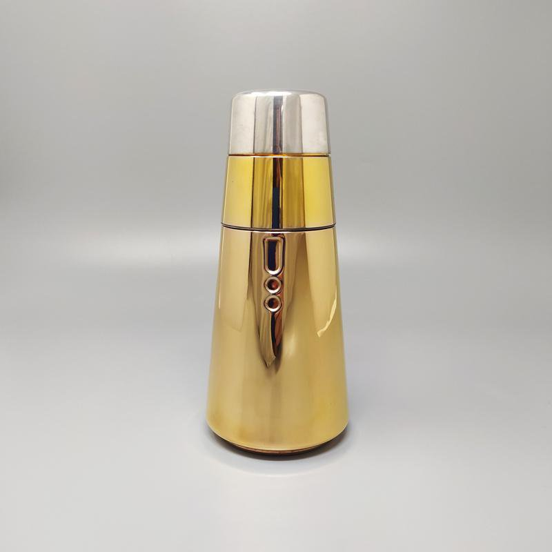 1960s Astonishing Cocktail Shaker in Silver and Pink Gold Plated by LARAS of ITALY. Made in Italy