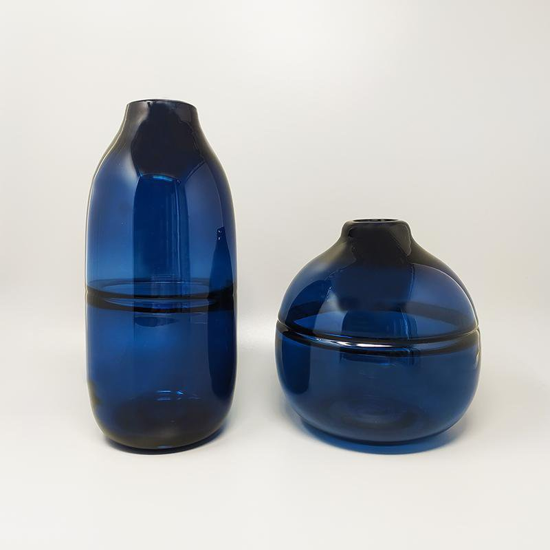 1960s Gorgeous Pair of Blue Vases by Seguso in Murano Glass. Made in Italy
