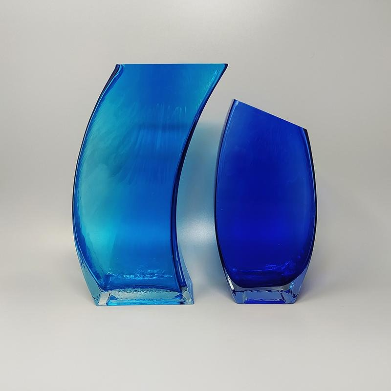 1970s Stunning Pair of Blue Vases  in Murano Glass. Made in Italy