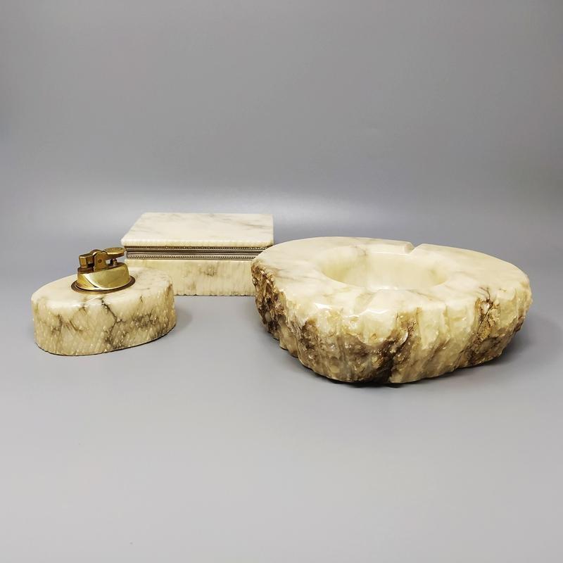 1960s Stunning Alabaster Smoking Set by Romano Bianchi