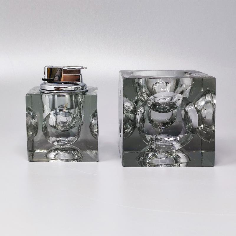 1970s Stunning Smoking Set By Antonio Imperatore in Crystal Glass. Made in Italy